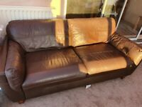 Brown faux leather 3 seater sofa