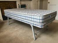2ft6 Small single/guest/child bed & mattress. Folds away. MUST GO BY TOMORROW