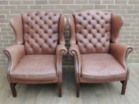 Pair of Queen Anne Vintage High Back Armchairs - Chesterfield (UK Delivery)