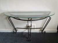 Glass & metal console table