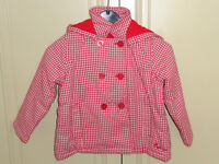 Girls Red/White Checked Coat Age 3-4