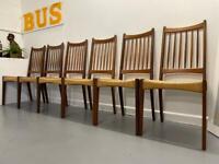 Set of Six Danish Mid Century Cord Dining Chairs Teak Mogens Kold