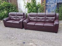 Cute 1 month old brown leather sofa suite.3 and 2 seater sofas.clean and tidy.as new.delivery