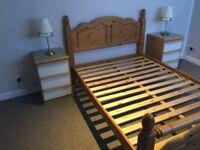 Bed frame and bedside cabinets