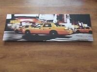 New York Taxi Canvas Wall Art Print Framed Picture large landscape yellow taxi cab