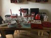Huge red & white Poppy kitchen accessories, blind, curtains, light shades, kettle, toaster etc