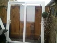 White UPVC Patio Doors & Track with vertical blind