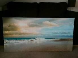 Frameless beach scene picture