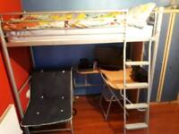 High sleeper bed with futon bed and chair