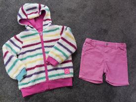 Girls Joules Fleece Hooded top & Pumpkin patch shorts 2-3 years