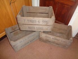 3 Three Vintage Wooden Rustic Bushel Crates Boxes Storage Apple Pears Fruit English