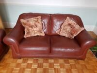 2 Seater Real Leather Tan Sofa VGC