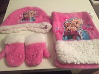 Girls frozen hat, scarf and gloves brand new