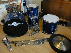 Drum Kit with Symbols, Stands, Sticks and Silencers