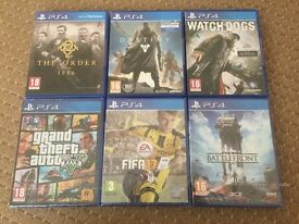 PS4 Games 3 New Sealed / 3 Preowned Sealed