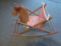 Childs 1st wooden rocking horse with padded seat vgc bargain £10