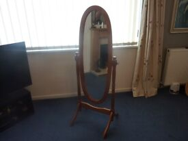 Large Oval mirror free standing pine