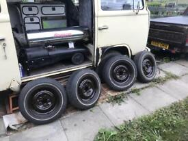 Brown Powder Coated VW T2 wheels and white wall cooper tyres