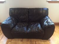 2 seater chocolate brown leather sofa