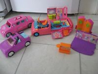 polly pockets dolls,plus vehicles etc