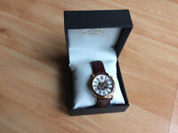 * MENS ROTARY WATCH - ROSE GOLD - GENUINE LEATHER - BOXED *