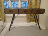 Modern metal and wood sideboard/hallway table with drawers