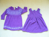 JoJo Maman Bebe cord pinafore dress and wool dress 18-24 mths
