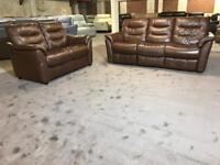 NEW/EX DISPLAY SOFOLOGY BRODY RECLINER 3 and 2 SEATER SOFA BROWN TAN REAL LEATHER OXBLOOD THREE TWO