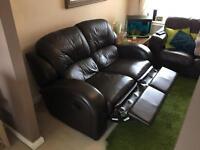2 seater dark brown manual recliner leather sofa