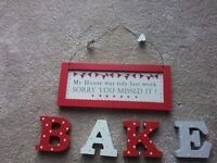 Bake ornament letters and kitchen sign