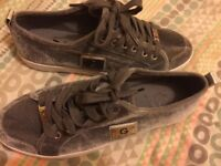 NEW - GUESS grey velvet trainers size 7.5