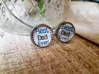 Best dad ever handmade cufflinks glass dome t bar