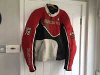 Mans leather Ducati motorcycles jacket