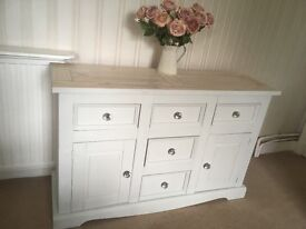 Lovely pale grey/white painted sideboard with lime waxed top