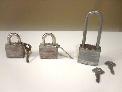 3 Vintage Pad Locks & Keys - 2 Master Locks  & 1 longer Lock
