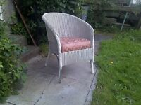 Original Art Deco Lloyd Loom Lusty Upholstered Chair