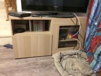 Large pale beech/silver birch effect tv stand