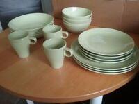 Kitchen plates, cups, bowls set...light green colour