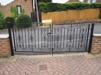 BLACK HEAVY WROUGHT IRON DRIVE GATES