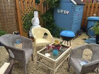 Wicker chairs cane table and bbq