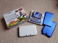 Nintendo 3DS XL White BOXED plus Pokemon Moon game - plus hard shell