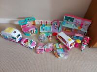 Shopkins bundle with Happyville High School, Camper Van and car and Ice cream truck