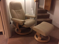 Stressless Cream Leather Chair with matching foot stool