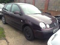 2002 VW POLO 1.2 Petrol. BREAKING FOR PARTS SPARES ONLY. 5 Door. Red Burgundy. Paint code LC3W