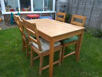 IKEA Dining table and four chairs