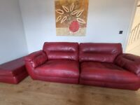 Red Leather Settee and foot stool
