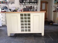 Neptune Chichester Island, wine rack, cupboards and shelving with light oak surface