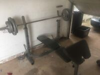 Weights bar and bench set