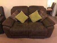 2 seater brown recliner sofa