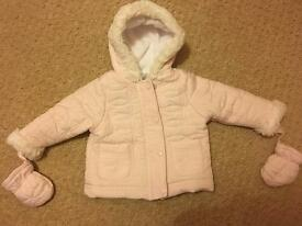 Pink flower quilted 3-6 month coat